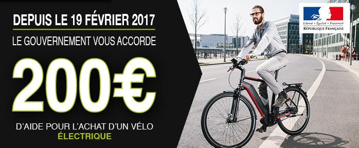 Bonus vélo - vélo électrique 200€ de prime