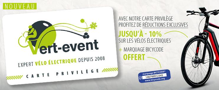 Réductions exclusives sur tous nos vélos : VTT électrique, vélo électrique urbain, vélo électrique puissant… Les + de la Carte Privilège Vert Event